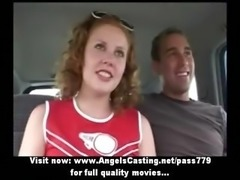 Adorable lovely redhead cheerleader teen with natural tits showing tits