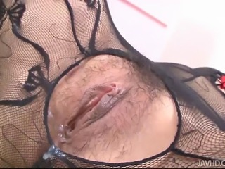 Hatsuka Kobayashi in a sexy fishnet body suit toyed
