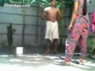 Indian Young Bangladeshi couple bathing outdoor and having sex video exposed free
