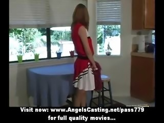 Wonderful amazing redhead cheerleader teen gets her pussy licked