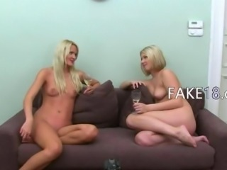 Two hot blondies ass loving on ottoman