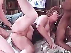 Old chubby slut sucks and receives big cocks