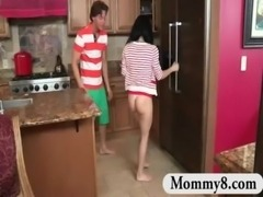 Teens get caught fucking in the kitchen by her stepmom MILF free