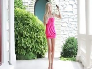 Beautiful blond babe teasing dancing