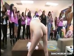 Party girls cheer on girl having sex