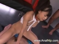 Petite hairy Tokyo girl vibrating snatch