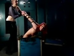 Orange haired sub begs LEZDOM master