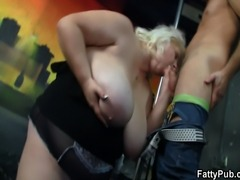 Big lady swallows cock