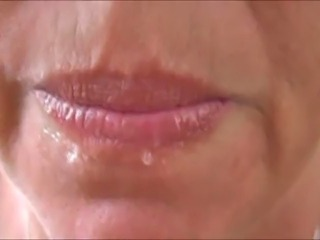 Compilation of Kimmie swallowing cum over and over while her clueless cuckold husband is a work.