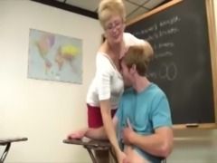 Granny teacher tugging cock for her lucky student free