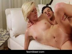 Petite blonde Elaine Raye tight pussy banged