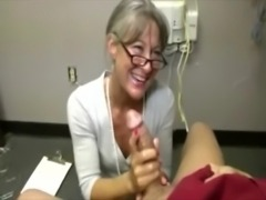 Horny granny tugging cock for this very lucky guy free