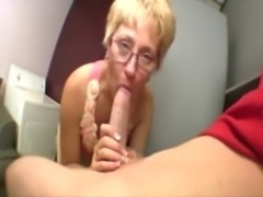 Mature granny wearing spex sucking on cock free