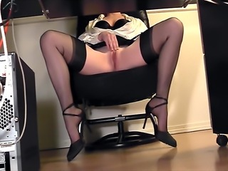 Secretary fingering at the office in thigh high stockings and heels