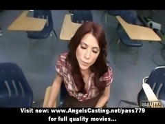 Naughty redhead schoolgirl spanked by teacher and doing blowjob