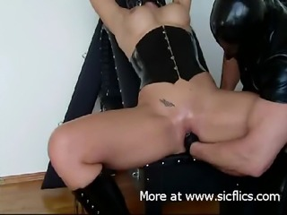 Sexy slave girls take a hard fisting from their dominant master till they squirt in orgasm