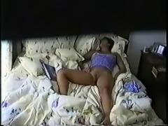Watch my cute cousin masturbating on bed. Hidden cam