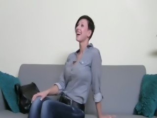 Horny brunette girl fucking on the chair