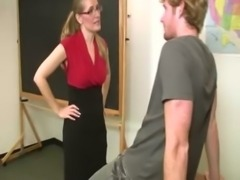 Sexy MILF teacher with glasses samples her students cock free