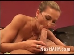 MILF with big tits giving nice blowjob free