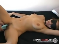 Submissive Mom with huge tits gets blindfolded