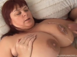 Gorgeous older fatty enjoys a hard fucking and cum all over her lovely big tits