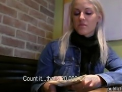 Amateur blondie Czech babe boned in the toilet for money