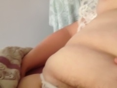 sucking her nipple & pubic hair in see through pantys