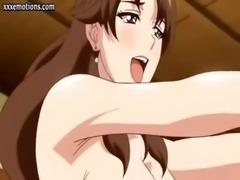 Busty hentai milf sucking a dick