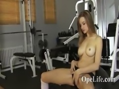 21yo babe teasing on ball in fitness