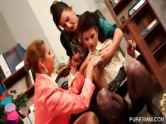 Hot lesbians have fun with messy cream at a WAM party