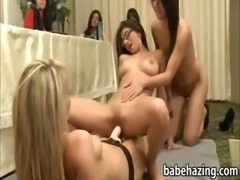 Newbie lesbian sororities interviewed and strapon fucked