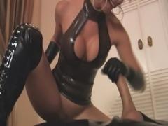 Fetish gloved Lady gives a handjob POV style free