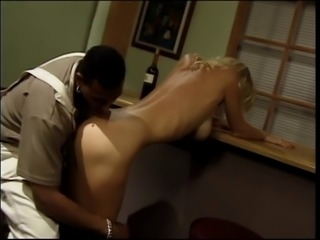 Blonde has interracial sex with black stud