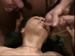 Retro China Lee gangbang. Some double anal.