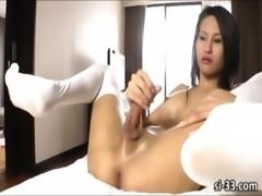Large tits ladyboy Sai explodes hot jizz