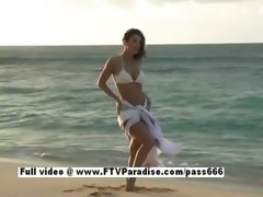 Isabella ingenious amateur woman posing on the beach