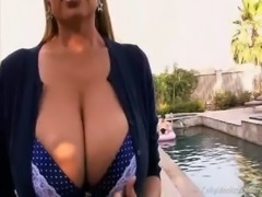 Huge Titted Wife Teasing Her Husband By The Pool free