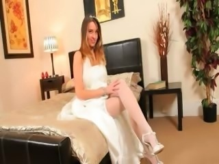 Super hot white stockings of sexy bride