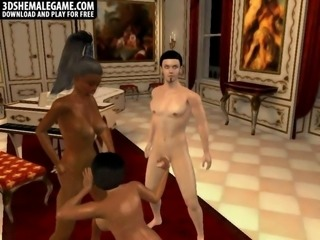 Horny stud fucking two horny 3D cartoon shemales