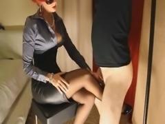 Redhead mom in pantyhose