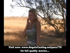 Attractive blonde hitchhiker does blowjob and gets tits licked