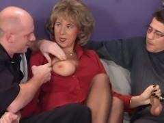 German houswife enjoying 2 hard cocks free