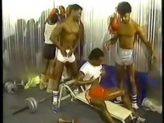 5 black muscle guys fucking after a workout.