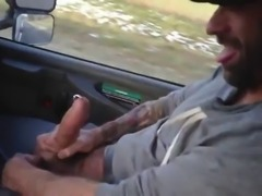 butch man showing monster pierced cock