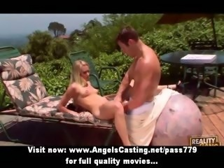 Blonde amateur lady getting pussy fucked at the pool