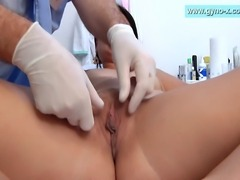 Lucy - gyno exam by male gynecologist. Breasts exam, measures, abdominal...