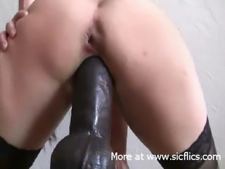 Monster black dildo smashing my loose cunt till i cum