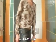 Amazingly skinny cute teen on toilet