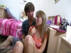 Two blond girls enjoying fucking on bed